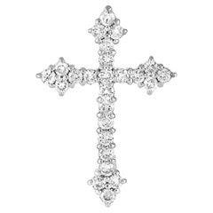LB Exclusive 18K White Gold 0.50 Ct Diamond Cross Pendant