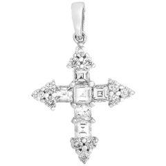 LB Exclusive 18 Karat White Gold 0.80 Carat Diamond Cross Pendant