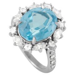 LB Exclusive 18K White Gold 0.93 Ct Diamond and Topaz Ring