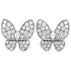 LB Exclusive 18 Karat White Gold 1.58 Carat Diamond Butterfly Earrings
