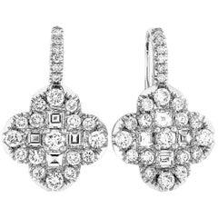 LB Exclusive 18k White Gold 2.19 Carat Full Diamond Floral Lever Back Earrings