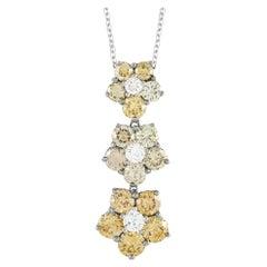 LB Exclusive 18K White Gold 3.06 Carat Diamond Flower Necklace