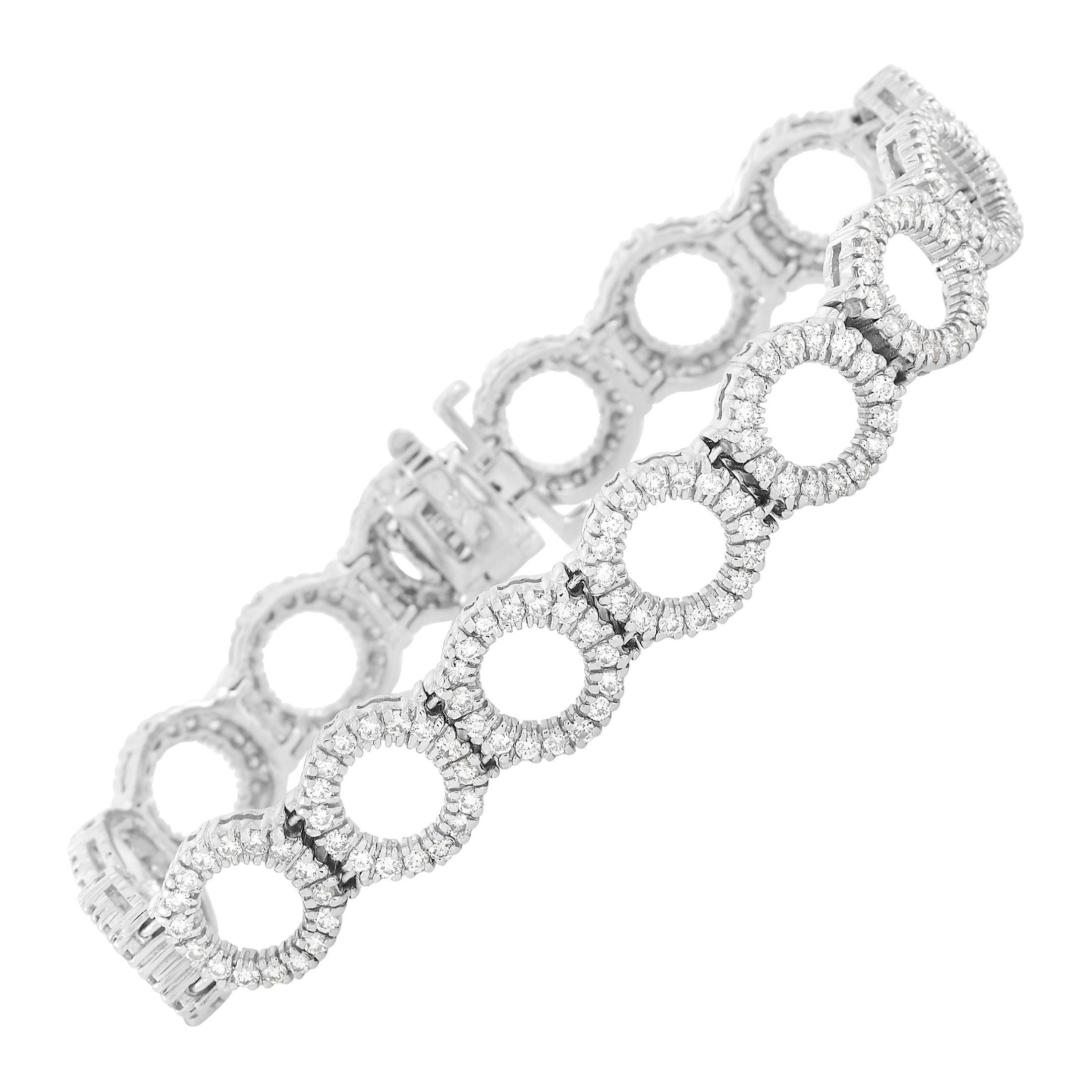 LB Exclusive 18k White Gold 4 Ct Diamond Link Bracelet