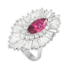 LB Exclusive 18K White Gold 5.50 Ct Diamond and Ruby Ring