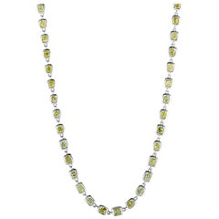 LB Exclusive 18 Karat White Gold and Yellow Diamond Long Necklace