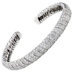 LB Exclusive 18 Karat White Gold Diamond Open Bracelet