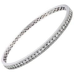 LB Exclusive 18 Karat White Gold Diamond Pave Bangle Bracelet