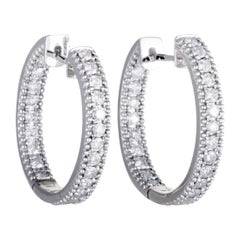 LB Exclusive 18K White Gold Full, 1.25ct Diamond Pave Inside Out Hoop Earrings