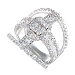 LB Exclusive 18 Karat White Gold Full, 1.68 Carat Diamond Pave Band Ring