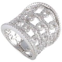 LB Exclusive 18 Karat White Gold Full Diamond Chain Pattern Band Ring