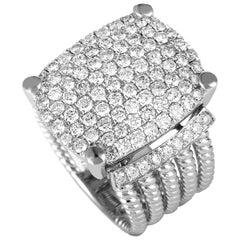 LB Exclusive 18 Karat White Gold Round Diamonds Wide Band Ring