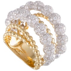 LB Exclusive 18k Yellow and White Gold, 3.90 Carat Diamond Beaded 6-Band Ring