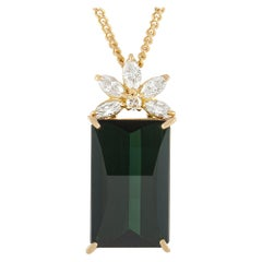 LB Exclusive 18K Yellow Gold 0.38ct Diamond and Tourmaline Pendant Necklace