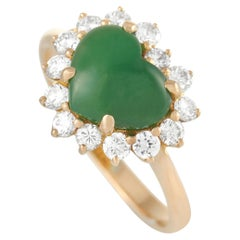 LB Exclusive 18K Yellow Gold 0.56 Ct Diamond and Jade Ring
