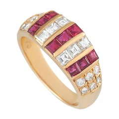 LB Exclusive 18k Yellow Gold 0.62 ct Diamond and Ruby Ring