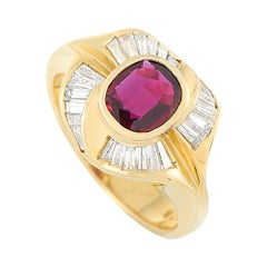 LB Exclusive 18k Yellow Gold 0.70 Ct Diamond and Ruby Ring