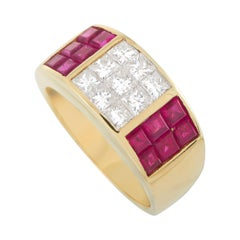 LB Exclusive 18k Yellow Gold 0.89 Ct Diamond and Ruby Ring