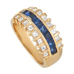LB Exclusive 18k Yellow Gold 0.89 ct Diamond and Sapphire Ring