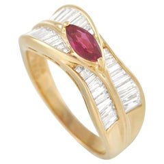 LB Exclusive 18K Yellow Gold 1.24 Ct Diamond and Ruby Ring