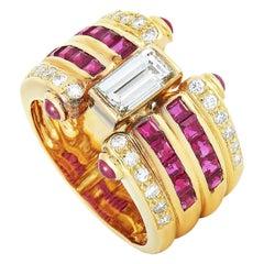 LB Exclusive 18 Karat Yellow Gold 1.58 Carat Diamond and Ruby Ring