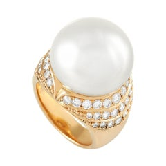 LB Exclusive 18k Yellow Gold 1.59 Ct Diamond and Pearl Ring