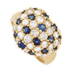 LB Exclusive 18K Yellow Gold 1.83 Ct Diamond 1.22 Ct Sapphire Ring
