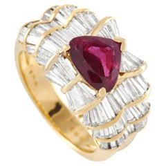 LB Exclusive 18K Yellow Gold 2.01 Ct Diamond and Ruby Ring
