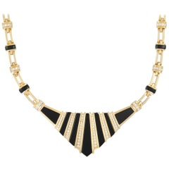 LB Exclusive 18K Yellow Gold 3.00 ct Diamond and Onyx Necklace