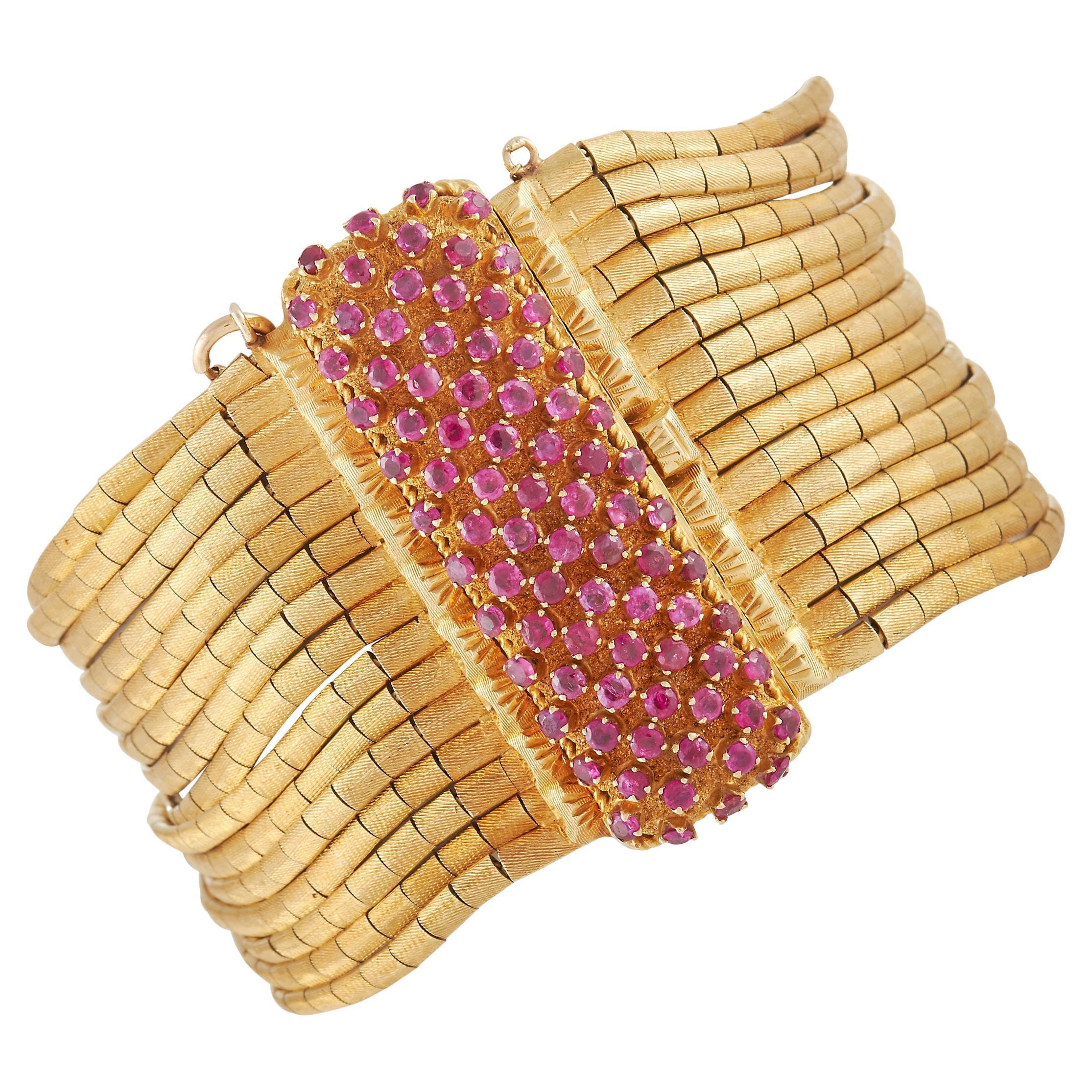 LB Exclusive 18K Yellow Gold 3.50 Ct Ruby Bracelet
