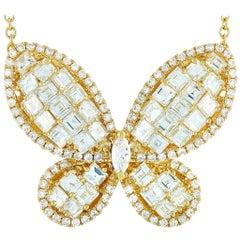 LB Exclusive 18 Karat Yellow Gold 5.35 Carat Diamond Butterfly Pendant Necklace