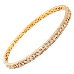 LB Exclusive 18 Karat Yellow Gold Diamond Pave Bangle Bracelet