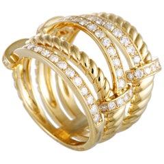 LB Exclusive 18 Karat Yellow Gold Diamond Pave Multi-Band Ring