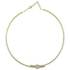 LB Exclusive 18 Karat Yellow Gold Diamond Pave Omega Necklace