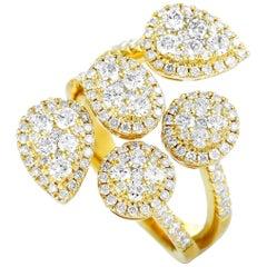 LB Exclusive 18 Karat Yellow Gold Diamond Pave Openwork Band Ring