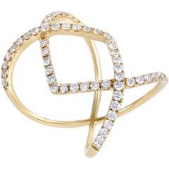 LB Exclusive 18 Karat Yellow Gold Diamond Pave Openwork Diamond Band Ring