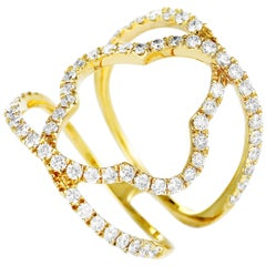 LB Exclusive 18 Karat Yellow Gold Diamond Pave Quatrefoil Openwork Band Ring