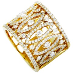LB Exclusive 18 Karat Yellow Gold Diamond Pave Split Wide Band Ring