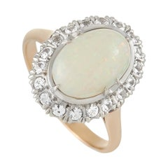 LB Exclusive 18k Yellow Gold Opal and White Sapphire Oval Ring