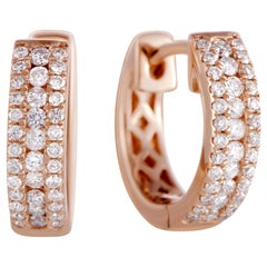 LB Exclusive .35 Carat VS1 G Color Diamond Rose Gold Hoop Huggies Earrings