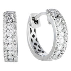LB Exclusive .35 Carat VS1 G Color Diamond White Gold Small Hoop Huggie Earrings