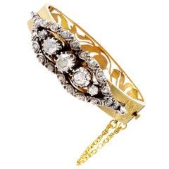 LB Exclusive Antique 18 Karat Gold and Silver Rose Cut Diamond Bangle Bracelet