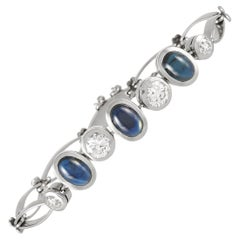 LB Exclusive Antique Platinum 1.80 Ct Diamond and 4.00 Ct Sapphire Bracelet