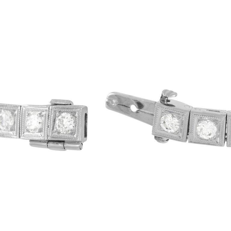 Round Cut LB Exclusive Antique Platinum 3.50 Ct Diamond and Ruby Bracelet For Sale
