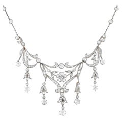LB Exclusive Antique Platinum and 18K Yellow Gold 13.00 ct Diamond Necklace