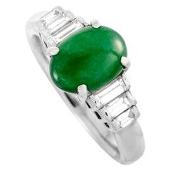 LB Exclusive Diamond and Jade Platinum Ring
