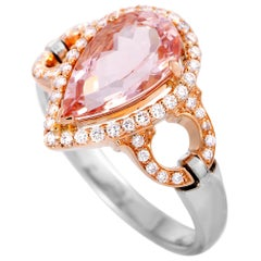 LB Exclusive Diamond and Morganite Pear White and Rose Gold Ring