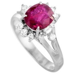 LB Exclusive Diamond and Ruby Oval Platinum Ring