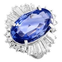 LB Exclusive 1.75 ct Diamond and 10.80 ct Ceylon Sapphire Platinum Oval Ring
