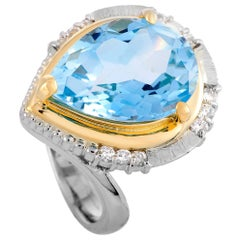 LB Exclusive Diamond and Topaz Platinum and Yellow Gold Ring