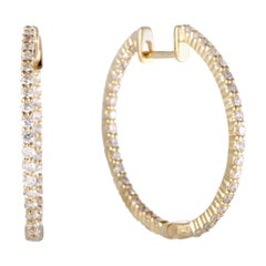 LB Exclusive Full 1.0 Carat VS1 G Color Diamond Pave Yellow Gold Inside Out